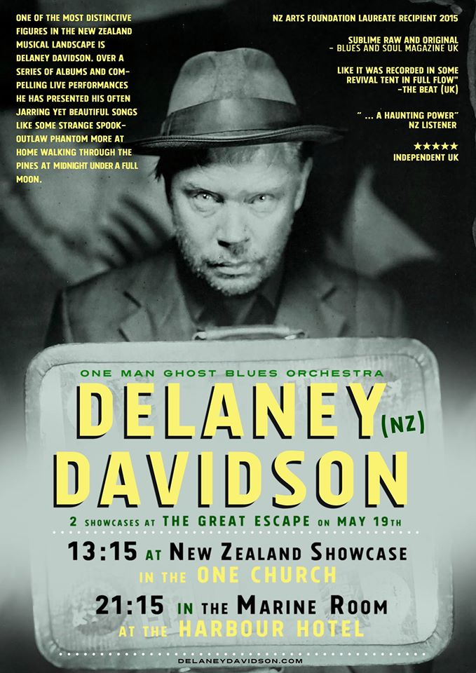 Delaney Davidson to showcase at The Great Escape in Brighton UK